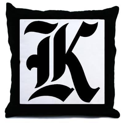 letter_k_gothic_initial_throw_pillow